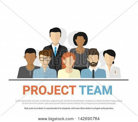 Flat illustration of project team. Business employee avatars of the project team working together. Graphic design of teamwork, cooperation and career growth. Group of people avatars on white background