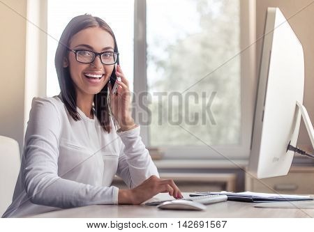 Attractive Business Lady In Office