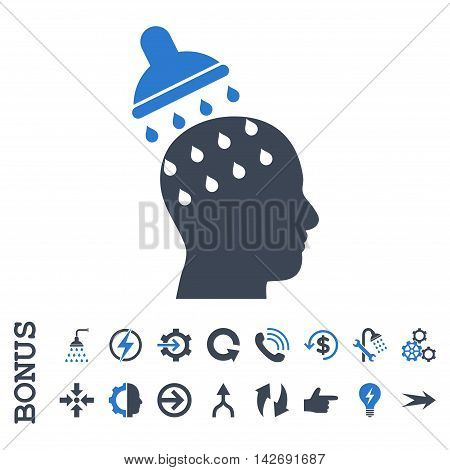Brain Washing glyph bicolor icon. Image style is a flat iconic symbol, smooth blue colors, white background.