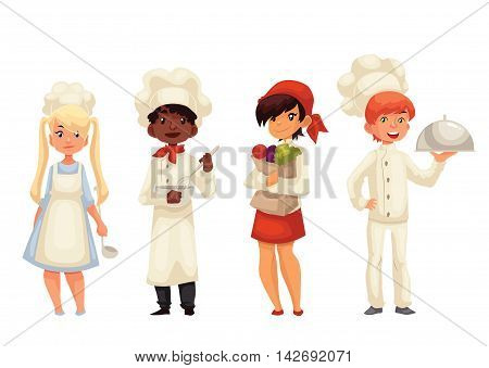 Children chefs cartoon illustration isolated on white background. Set of chef kids standing, serving food, holding vegetables and stirring bowl. Happy little cookers in hats and uniform