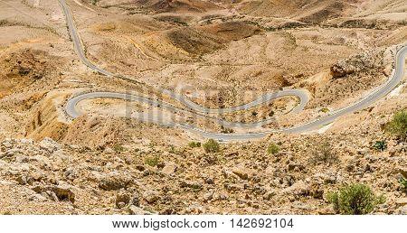 Landscape Makhtesh Gadol or Large Crater nature reserve in Negev desert view from Mt. Avnon Israel