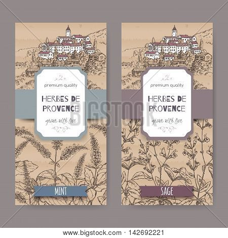 Two Herbes de Provence labels with Provence town landscape, mint and sage sketch. Culinary herbs collection. Great for cooking, medical, gardening design.