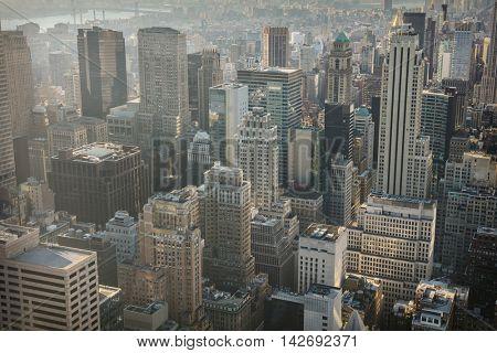 New York City skyline with urban skyscrapers, Manhattan office buildings, USA
