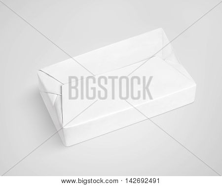White Spread Butter Wrap Box Package On Gray