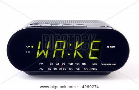 Clock Radio With The Word Wake