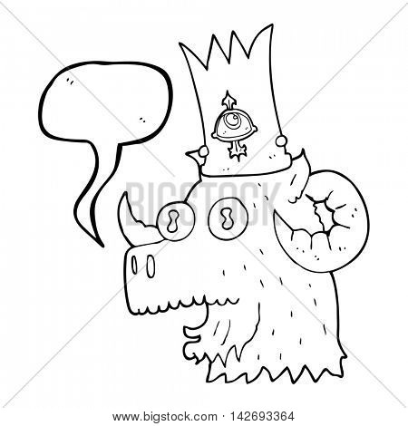 freehand drawn speech bubble cartoon ram head with magical crown