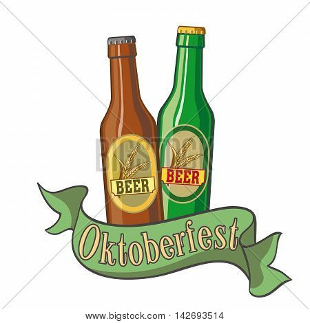 Two bottles of beer. Beer bottle. Ale bottle. Pint of beer. Pint of ale. Festival. Oktoberfest. Cold beer. Two bottles of beer color. Two bottles of beer simple.