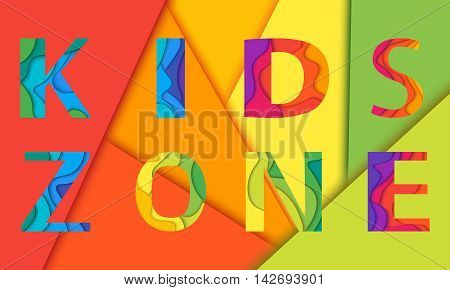 Kids Zone lettering mockup. Vector illustration for playground, child or day care isolated on colorful background.