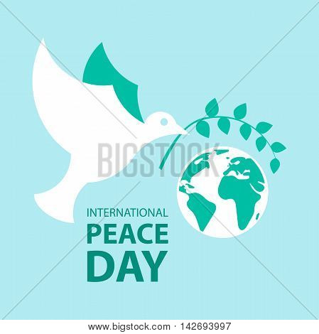 Peace dove with olive branch and planet earth for International Peace Day poster.