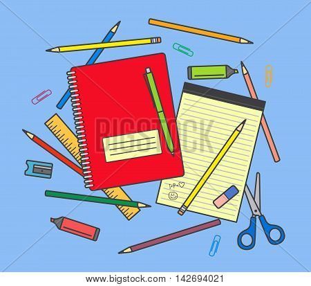 School supplies on blue background: notebook, pencils, pen, ruler, scissors, eraser, pencil sharpener, highlighter pen etc.