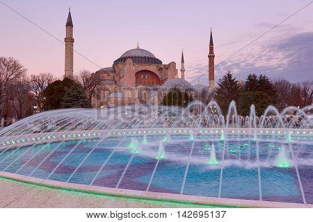 Hagia Sophia view at sunset, Istanbul, Turkey