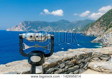 Scenic view in Sunny day on the coastline of the Cinque Terre. Italy. Liguria.