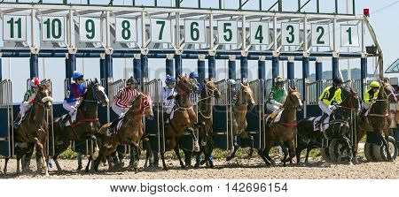 PYATIGORSK RUSSIA - JULE 17: Start gates for horse races for the prize of Letni in Pyatigorsk, Caucasus, Russia on Jule 172016.