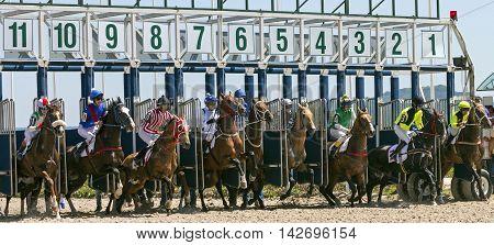 PYATIGORSK RUSSIA - JULE 17: Start gates for horse races for the prize of Letni in Pyatigorsk, Caucasus, Russia on Jule 172016.