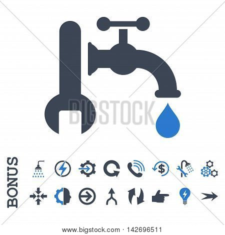 Plumbing glyph bicolor icon. Image style is a flat iconic symbol, smooth blue colors, white background.