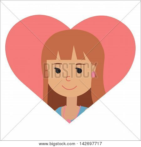 Vector drawing of icon woman in the heart