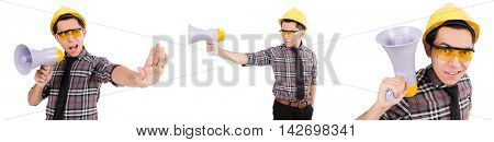 Young construction worker with loudspeaker isolated on white