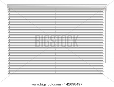 Window shutters. Office interior blinds. Window decor. Horizontal window blind. Vector illustration. Grey window blinds. Office accessories
