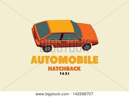 Typographic retro taxi cab poster. Vector illustration.