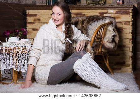 Smiling Woman In White Stockings And Blouse