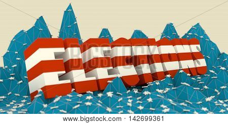 Low poly mountains landscape. 3d illustration. Polygonal mosaic background. Elections word. United States flag colors