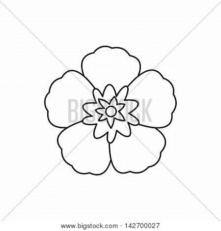 Rose of Sharon, korean national flower icon in outline style isolated on white background vector illustration