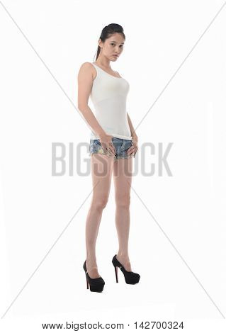 Beauty woman in short shorts isolated on white background