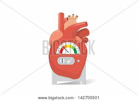 Heart have a channel for inserts a coin into machine. Heart have scale of engine. This illustration is concept about health and medical.