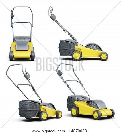 Set Of Lawn Mower Isolated On A White Background. 3D Render Imag