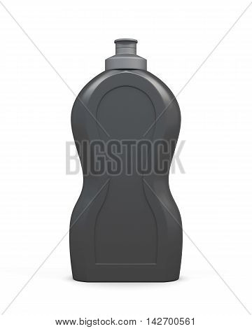 Empty Black Bottle Of Detergent Isolated On A White Background.