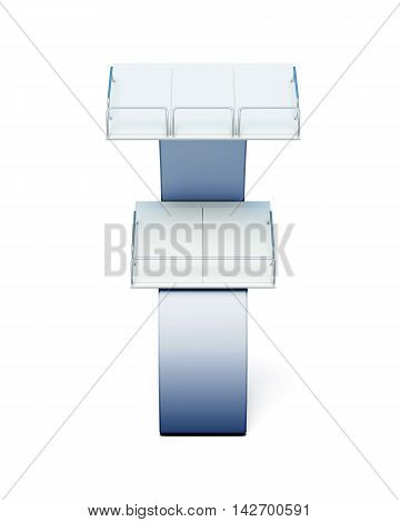 Stand With Shelves For Paper Products On A White Background. 3D Rendering