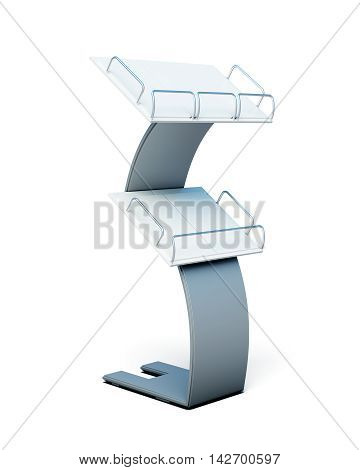 Stand With Shelves For Paper Products On A White Background. 3D Render Image