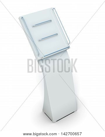 Display For Catalogs Or Magazines Isolated On White Background. 3D Rendering