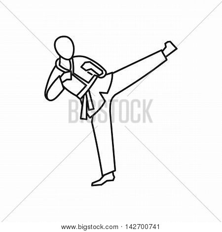 Wushu master icon in outline style isolated on white background vector illustration