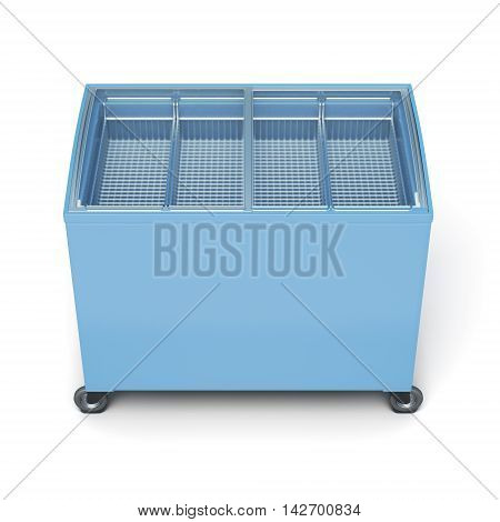 Front View Freezer Chest Isolated On White Background. 3D Rendering