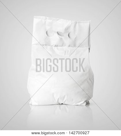 White Blank Washing Powder Bag Package On Gray