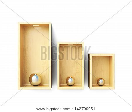 Shelves Front View Isolated On White Background. 3D Rendering