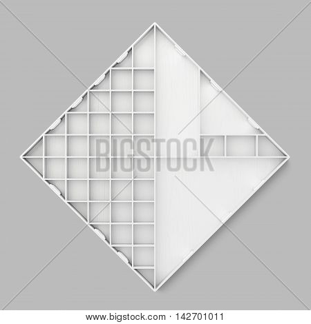 Abstract Shelves On Grey Background. 3D Rendering