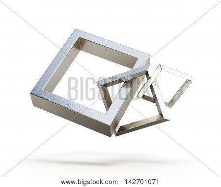 Square Link Chain Isolated On A White Background.  3D Render Image