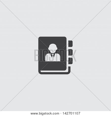 Phonebook icon in a flat design in black color. Vector illustration eps10