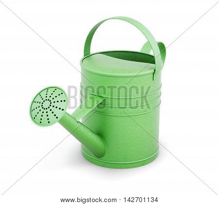 Green Metal Watering Can Isolated On White Background. 3D Render