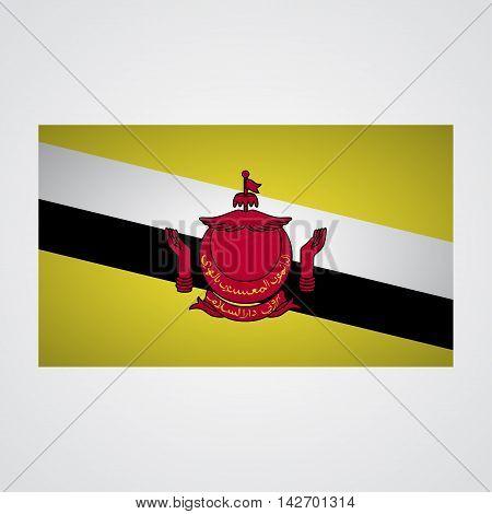 Brunei flag on a gray background. Vector illustration
