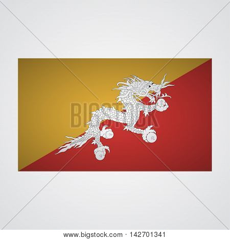 Bhutan flag on a gray background. Vector illustration