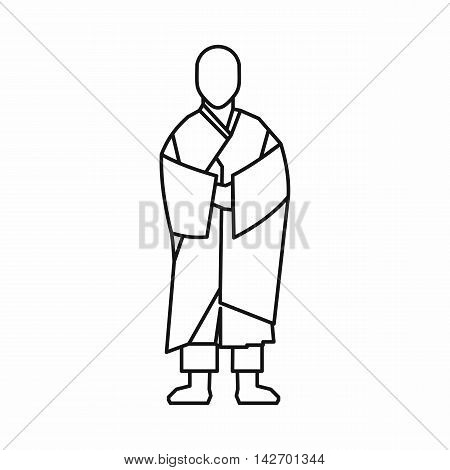 Buddhist monk icon in outline style isolated on white background vector illustration