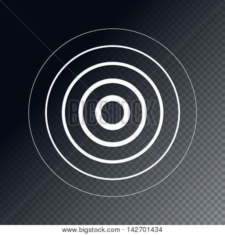 Radar screen concentric circle element. Sound wave. Circle spin target. Radio station signal