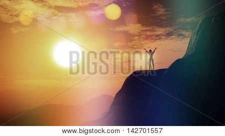3D render of a female with arms raised on a cliff against a sunset sky