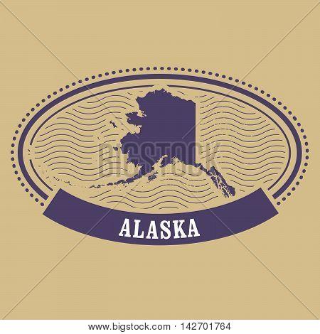 Alaska map silhouette - postal oval stamp