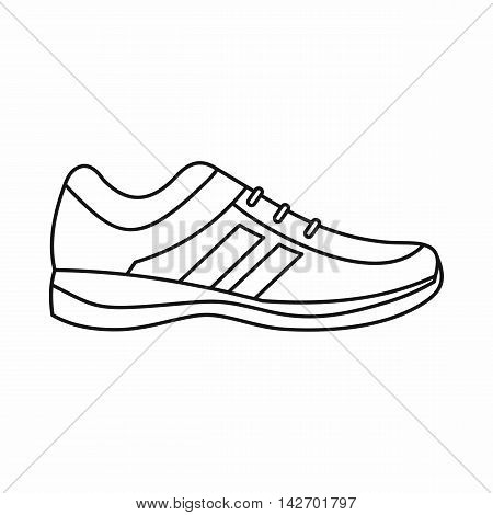 Men sneakers icon in outline style isolated on white background. Wear symbol vector illustration