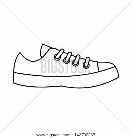 Sneakers icon in outline style isolated on white background. Wear symbol vector illustration