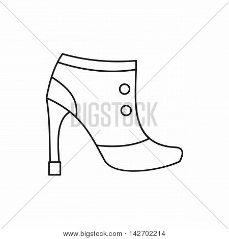 Women boots icon in outline style isolated on white background. Wear symbol vector illustration
